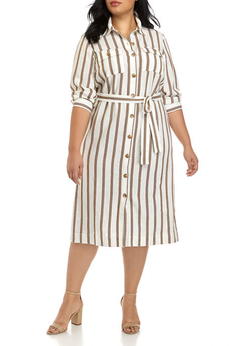 Plus Size Long Sleeve Linen Shirt Dress