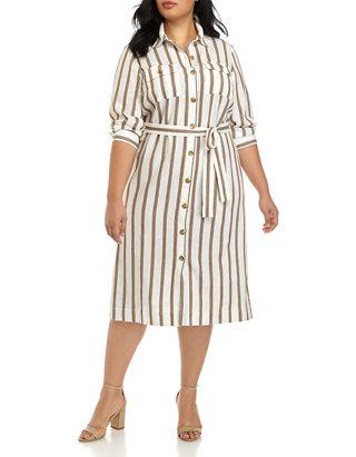 Plus Size Long Sleeve Linen Shirt Dress