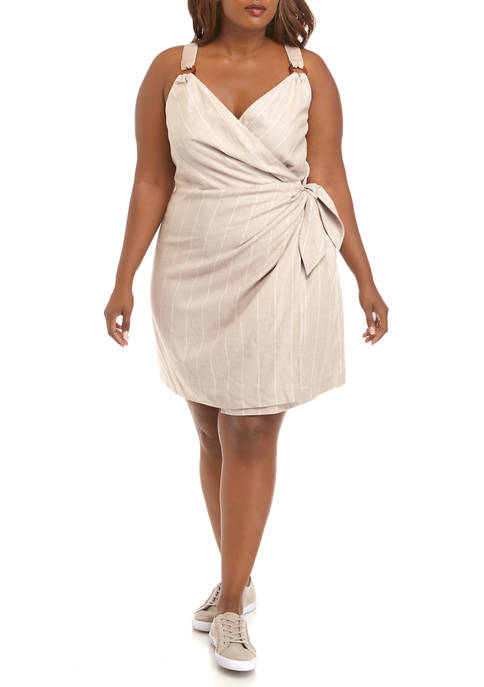 Plus Size Linen Surplus Wrap Dress
