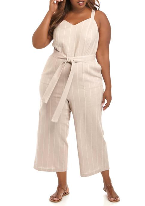 Plus Size Linen Tie Waist Wide Leg Crop Jumpsuit