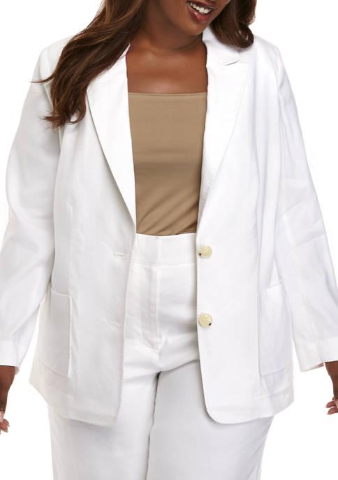 Plus Size Linen Button Blazer