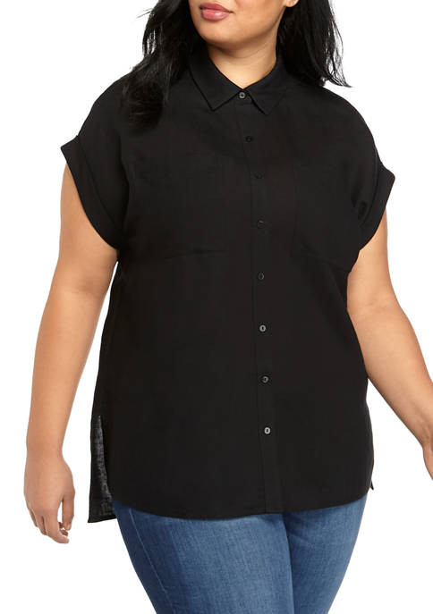 THE LIMITED Plus Size Short Sleeve Linen Button