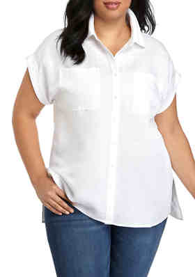 Standards /& Practices Plus Size Modern Women/'s Lace Collared Button Down Shirt