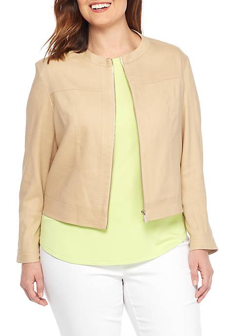 Plus Size Linen Moto Jacket