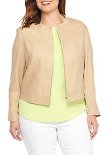 Plus Size Linen Moto Jacket
