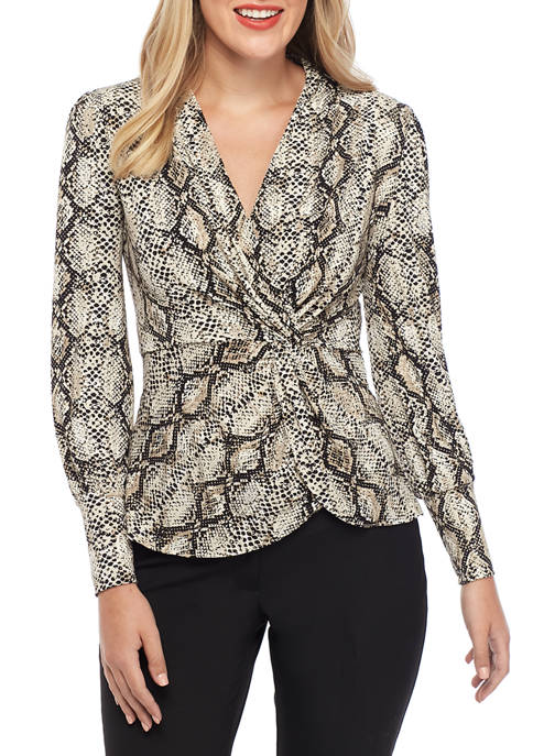 THE LIMITED Womens Knot Front Peplum Top