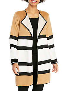 Petite Striped Plush Jacket