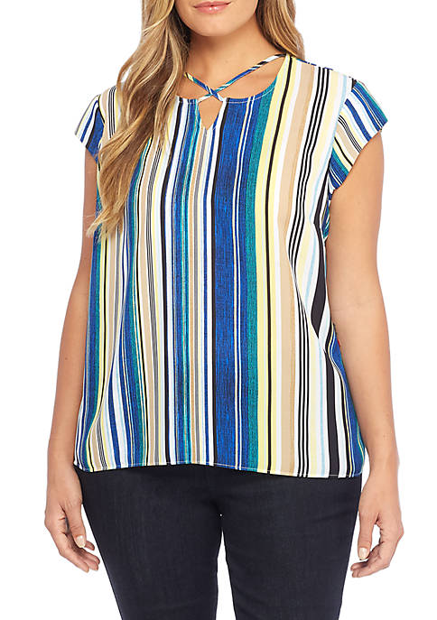 THE LIMITED Plus Size Cross Tie Neck Top