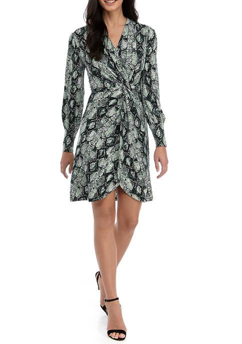 Womens Long Sleeve Side Knot Dress