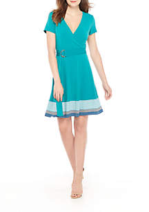 Petite Short Sleeve Surplice Dress with Belt