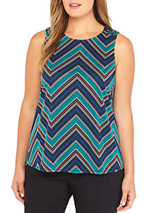 Plus Size Sleeveless Scoop Neck Tank with Grommets