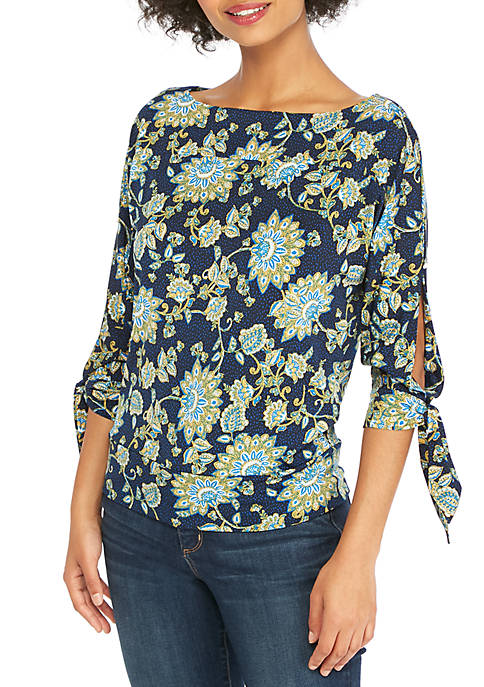 THE LIMITED Petite Print Banded Knit Top