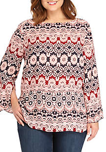 Plus Size Printed Flare Sleeve Blouse
