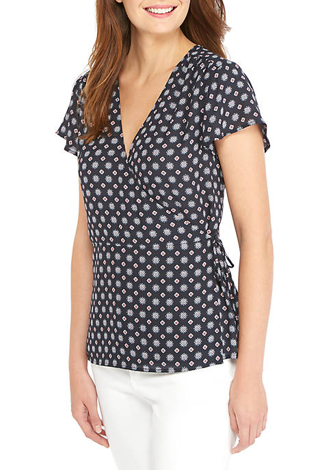 THE LIMITED Short Sleeve Printed Wrap Top