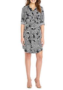 Printed Roll Sleeve Shirt Dress