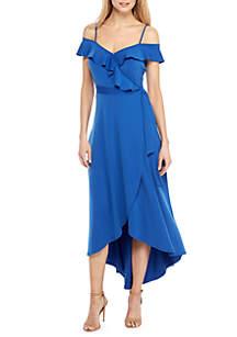 Cold-Shoulder Flutter High Low Dress