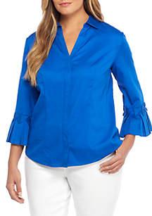 Plus Size Origami Collar Shirt