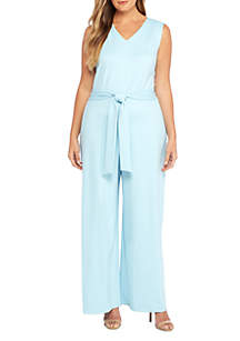 Plus Size Ponte Sleeveless Jumpsuit
