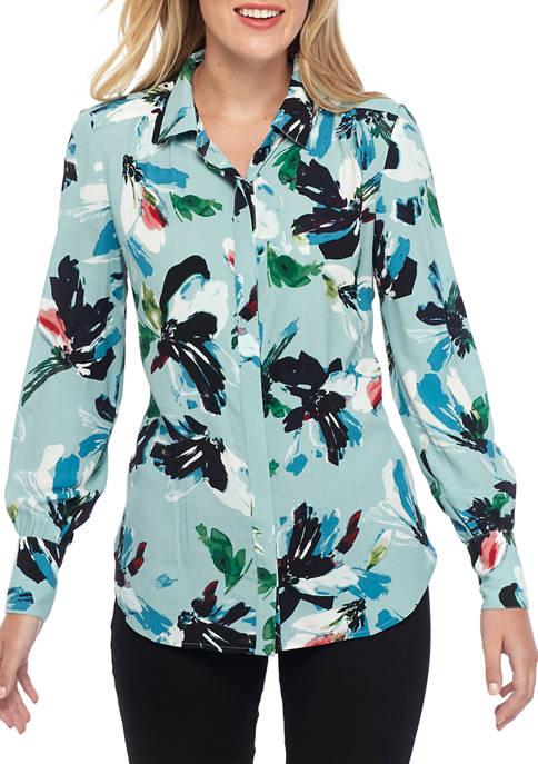 Womens Fluid Sleeve Button Front Top