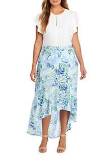 Plus Size Fluid Crepe Maxi Skirt