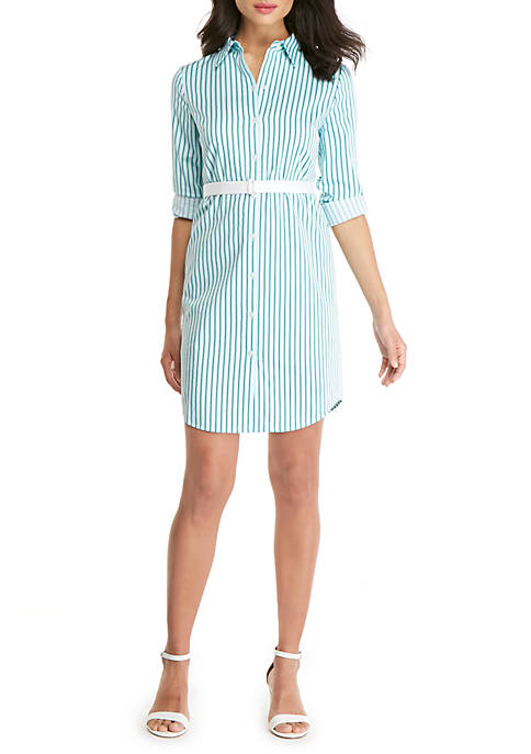 THE LIMITED Petite Striped Shirt Dress
