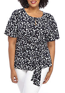 a0b5c234b3e ... THE LIMITED Plus Size Floral Side Tie Top