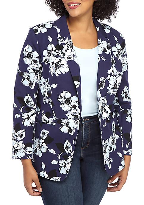 Plus Size One Button Blazer