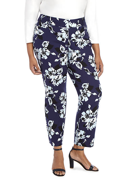 Plus Size Floral Printed Ankle Pants