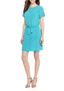 Petite Short Sleeve Shirt Dress