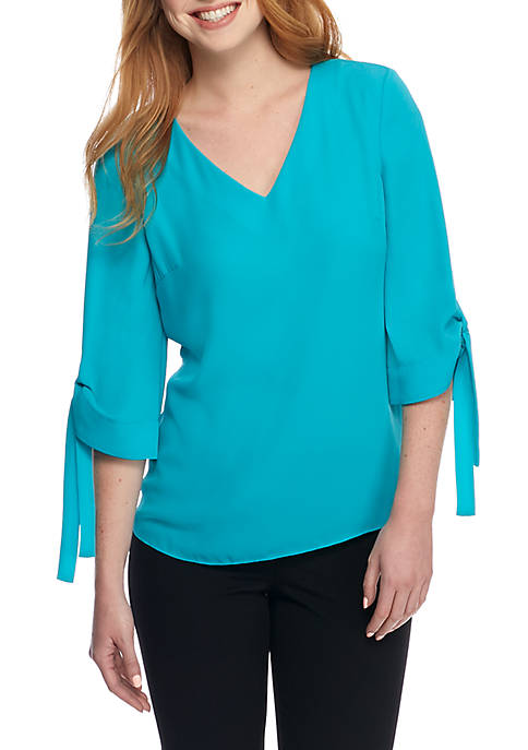 THE LIMITED Petite V-Neck Tie Sleeve Blouse