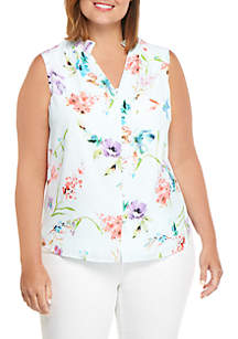 THE LIMITED Plus Size Sleeveless Mock Neck Blouse