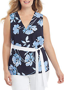 THE LIMITED Plus Size Sleeveless V Neck Tie Waist Top