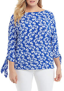 THE LIMITED Plus Size Print Banded Bottom Knit Top