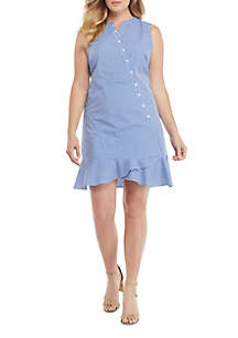 THE LIMITED Plus Size Sleeveless Button Surplice Gingham Ruffle Hem Dress