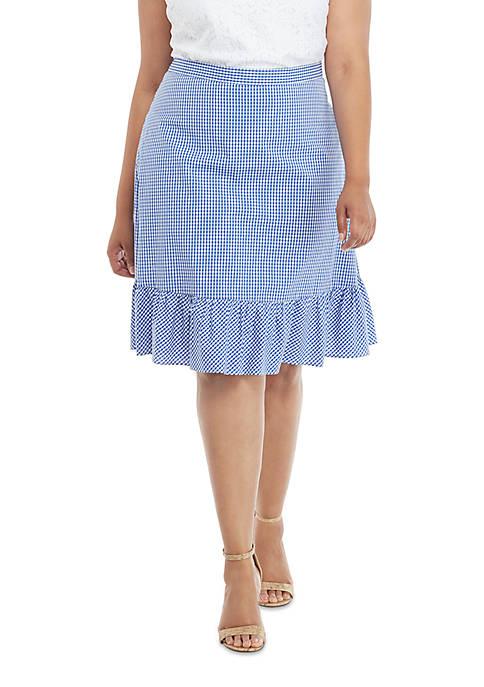 Plus Size Gingham Flounce Hem Tie Waist Skirt
