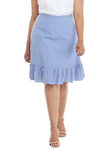 THE LIMITED Plus Size Gingham Flounce Hem Tie Waist Skirt