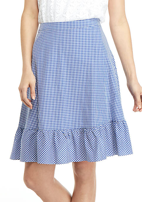 THE LIMITED Gingham Flounce Hem Tie Waist Skirt