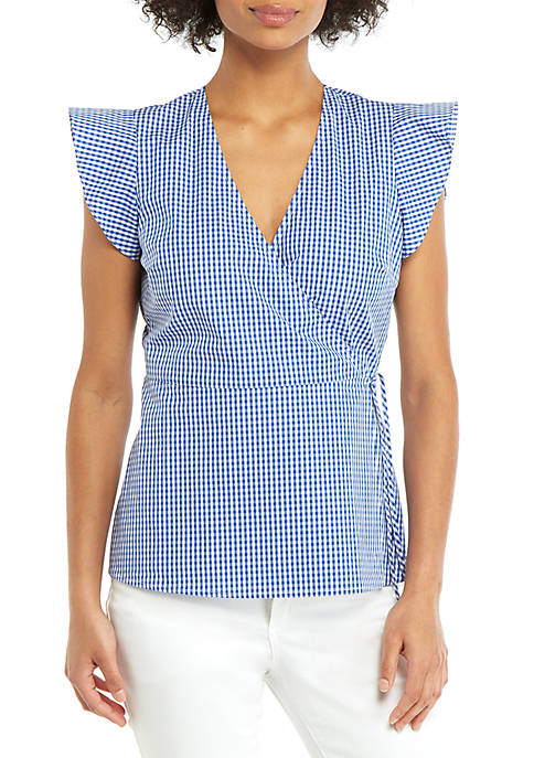 THE LIMITED Flutter Sleeve Surplice Gingham Top