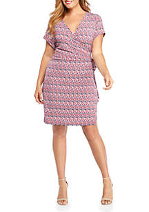 THE LIMITED Plus Size Short Sleeve Wrap Dress