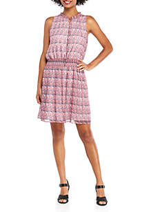 THE LIMITED Ruffle Tie Neck Cinched Waist Dress