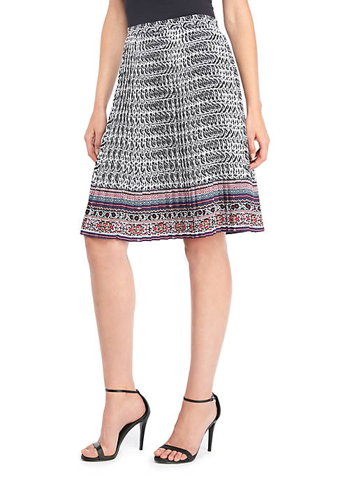 THE LIMITED Petite Flared Crepe Pleated Skirt