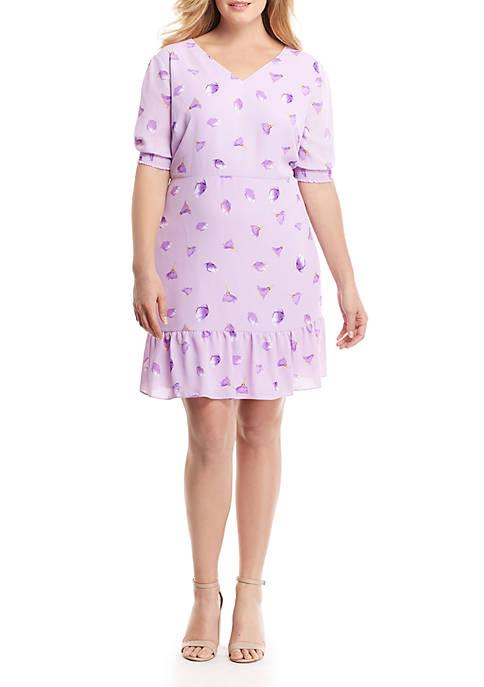 Plus Size Printed Knee Length Dress