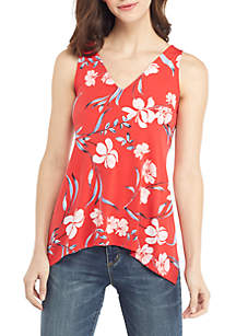 THE LIMITED Petite Sleeveless V Neck Hanky Hem Top