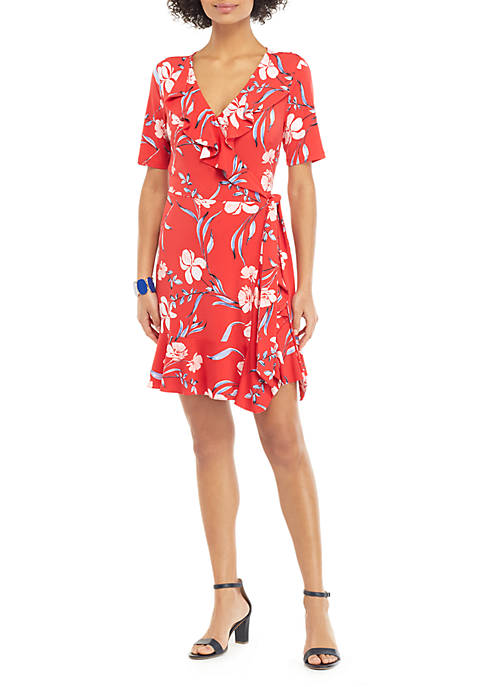 THE LIMITED Petite Ruffle Surplice Dress with Tie