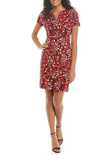 THE LIMITED Short Sleeve Scuba Crepe Midi Dress