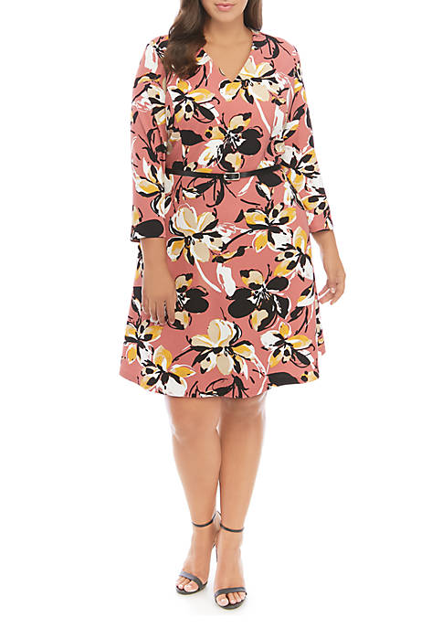 THE LIMITED Plus Size Belted 3/4 Sleeve Dress