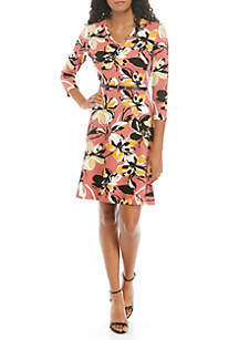 THE LIMITED Belted 3/4 Sleeve Dress
