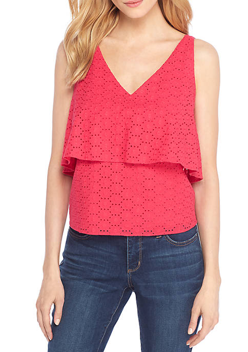 THE LIMITED Modern Eyelet Sleeveless Top