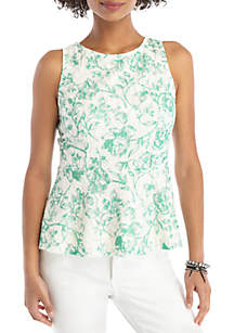 THE LIMITED Petite Sleeveless Peplum Lace Top