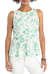 THE LIMITED Sleeveless Peplum Lace Top
